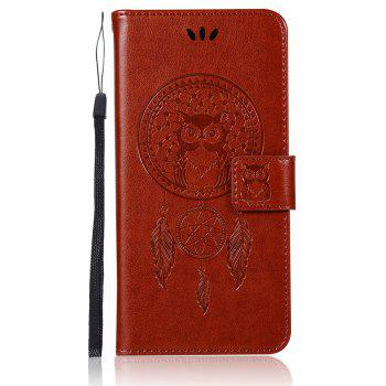 Owl Campanula Fashion Wallet Cover For Huawei P10 Case PU Luxury Retro Flip Leather Case Phone Bag With Stand - BROWN