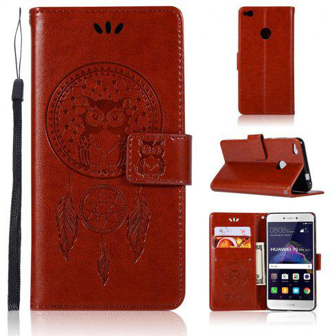 Owl Campanula Fashion Wallet Cover For Huawei P8 Lite 2017 / Honor 8 Lite Phone Bag With Stand PU Flip Leather Case - BROWN