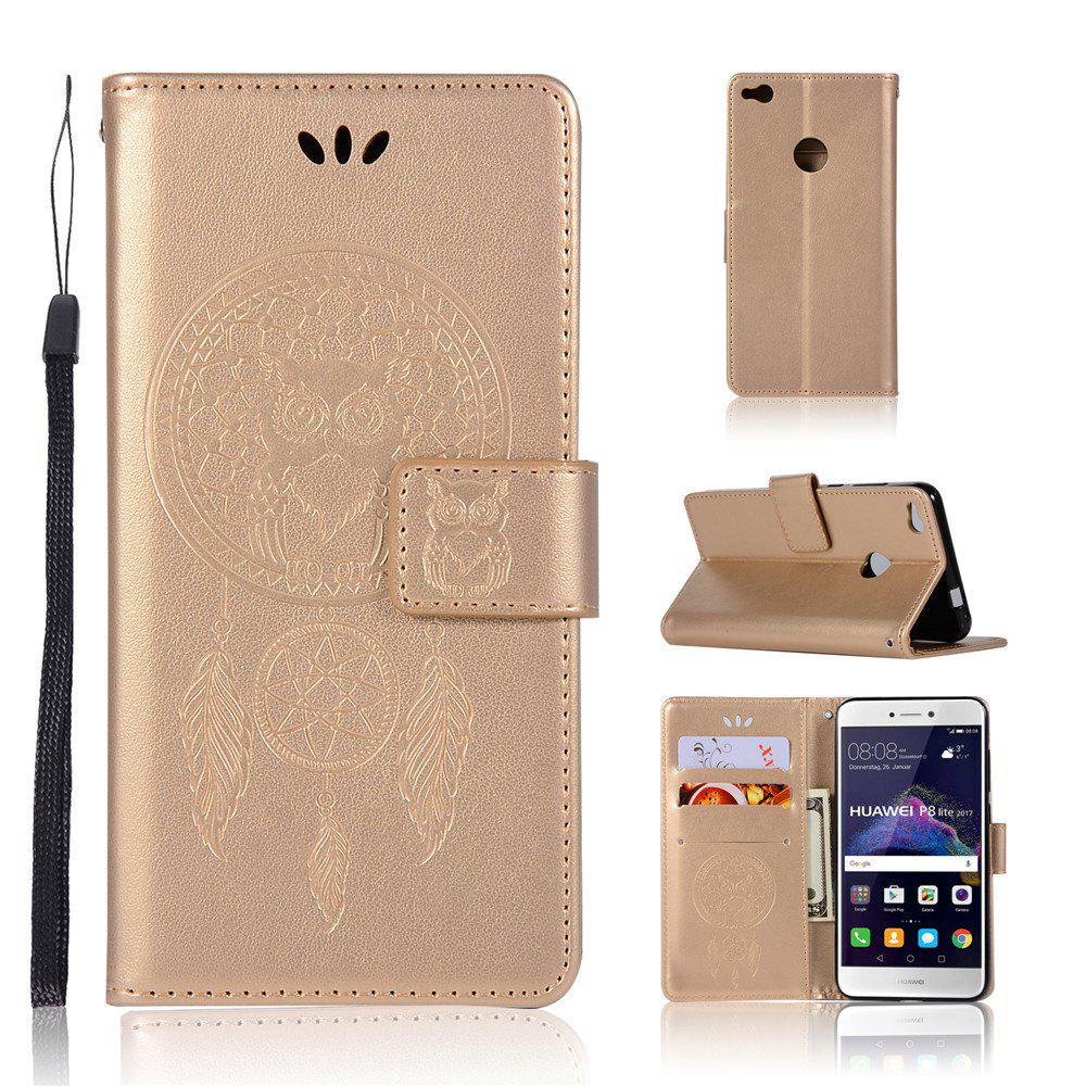 Owl Campanula Fashion Wallet For Huawei P9 Lite 2017 / Nova Lite / GR3 2017 Phone Bag With Stand PU Flip Leather Case - GOLDEN