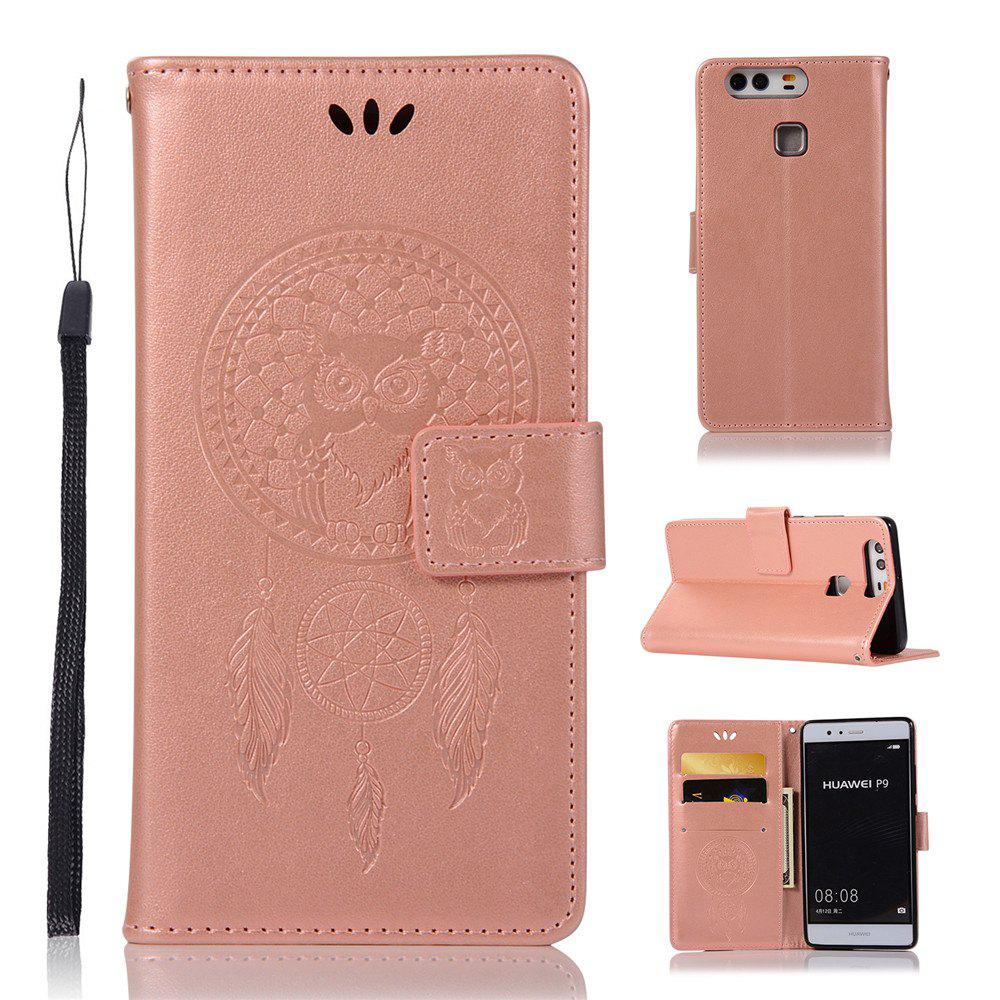 Owl Campanula Fashion Wallet Cover For Huawei P9 Case PU Luxury Retro Flip Leather Case Phone Bag With Stand - ROSE GOLD