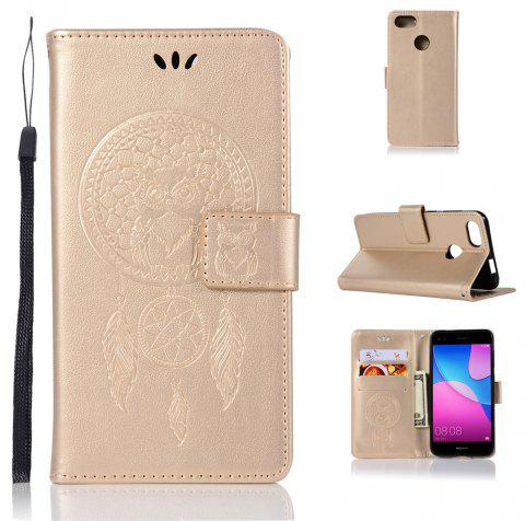 Owl Campanula Fashion Wallet Cover For Huawei Enjoy 7 Case PU Luxury Retro Flip Leather Case Phone Bag With Stand - GOLDEN