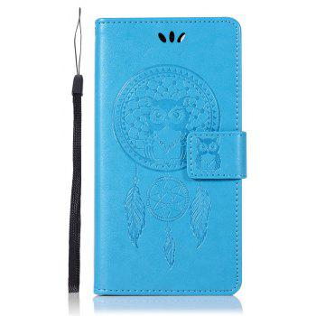 Owl Campanula Fashion Wallet Cover For Huawei Enjoy 7 Case PU Luxury Retro Flip Leather Case Phone Bag With Stand - BLUE