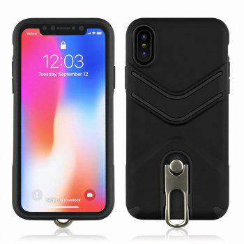 Kickstand Shock Proof Case For iPhone X Case Luxury Back Cases Cover - BLACK BLACK