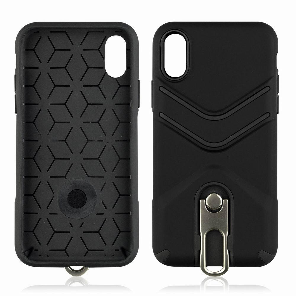 Kickstand Shock Proof Case For iPhone X Case Luxury Back Cases Cover - BLACK