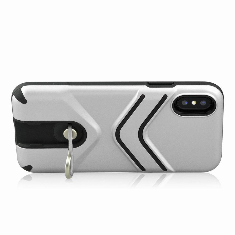 Kickstand Shock Proof Case For iPhone X Case Luxury Back Cases Cover - SILVER