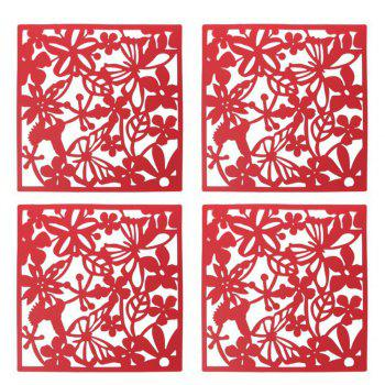 4Pcs Hanging  Set European Style Divider Safety Hanging Screens Panel - RED