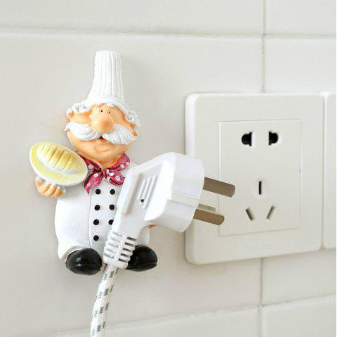 1Pcs Power Line Storage Racks Creative Cartoon Cook Design Wall Hooks - WHITE/BLACK