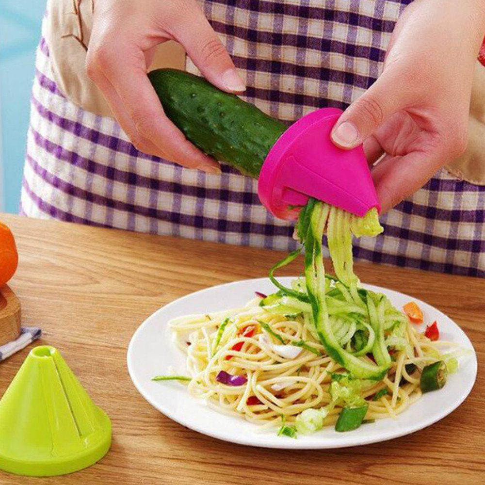 Vegetable Carrot Cutter Spiral Slicer Kitchen Accessories Gadgets - ROSE RED