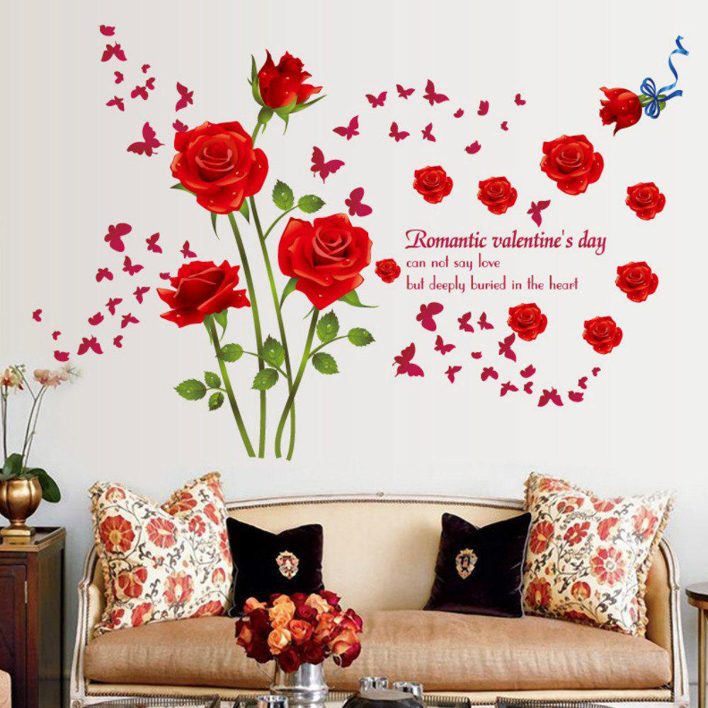 2018 Roses Wall Stickers Living Room Bedroom Sofa Background Home