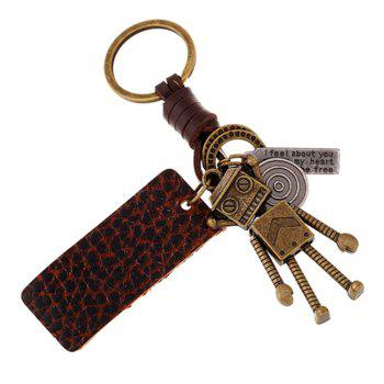 Retro Robot Leather Moven Fabric Keychain Rings Perfect Gifts Souvenirs - GOLDEN GOLDEN