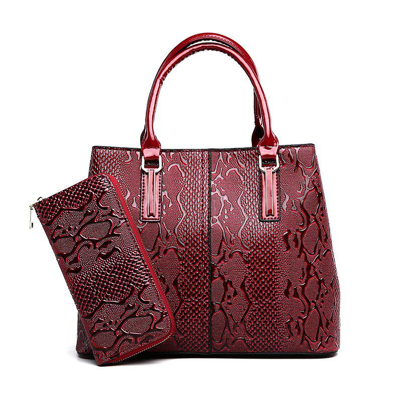 Snakeskin Mothers Package High-Capacity Ladies Shoulder Messenger Bag Two-Piece - WINE RED