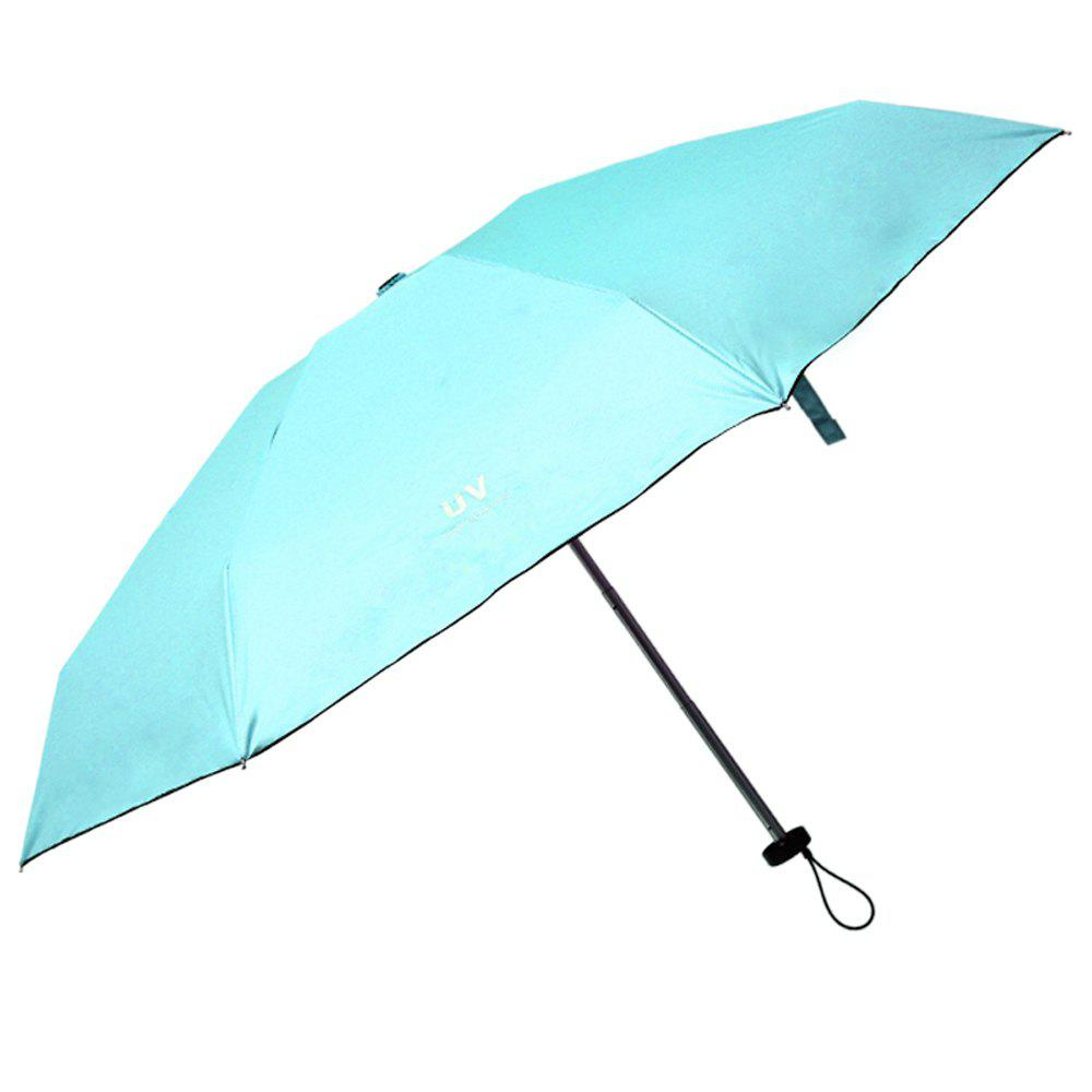 Small Fresh Pure Color Folding Umbrella - BLUE