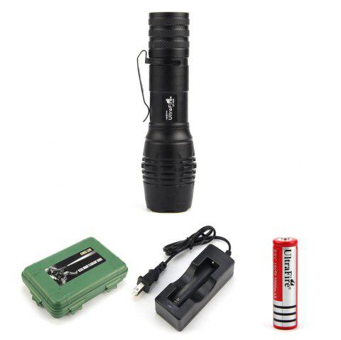 UltraFire UF-S22 XML-T6 680LM 5-Position Telescopic Focusing Flashlight Suit - BLACK