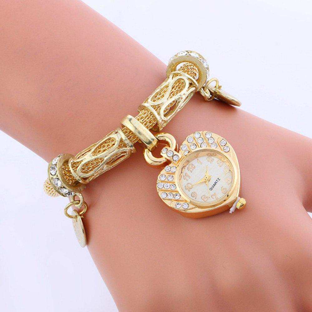 Reebonz New Fashion Ladies Love Heart Diamond Watch - GOLDEN