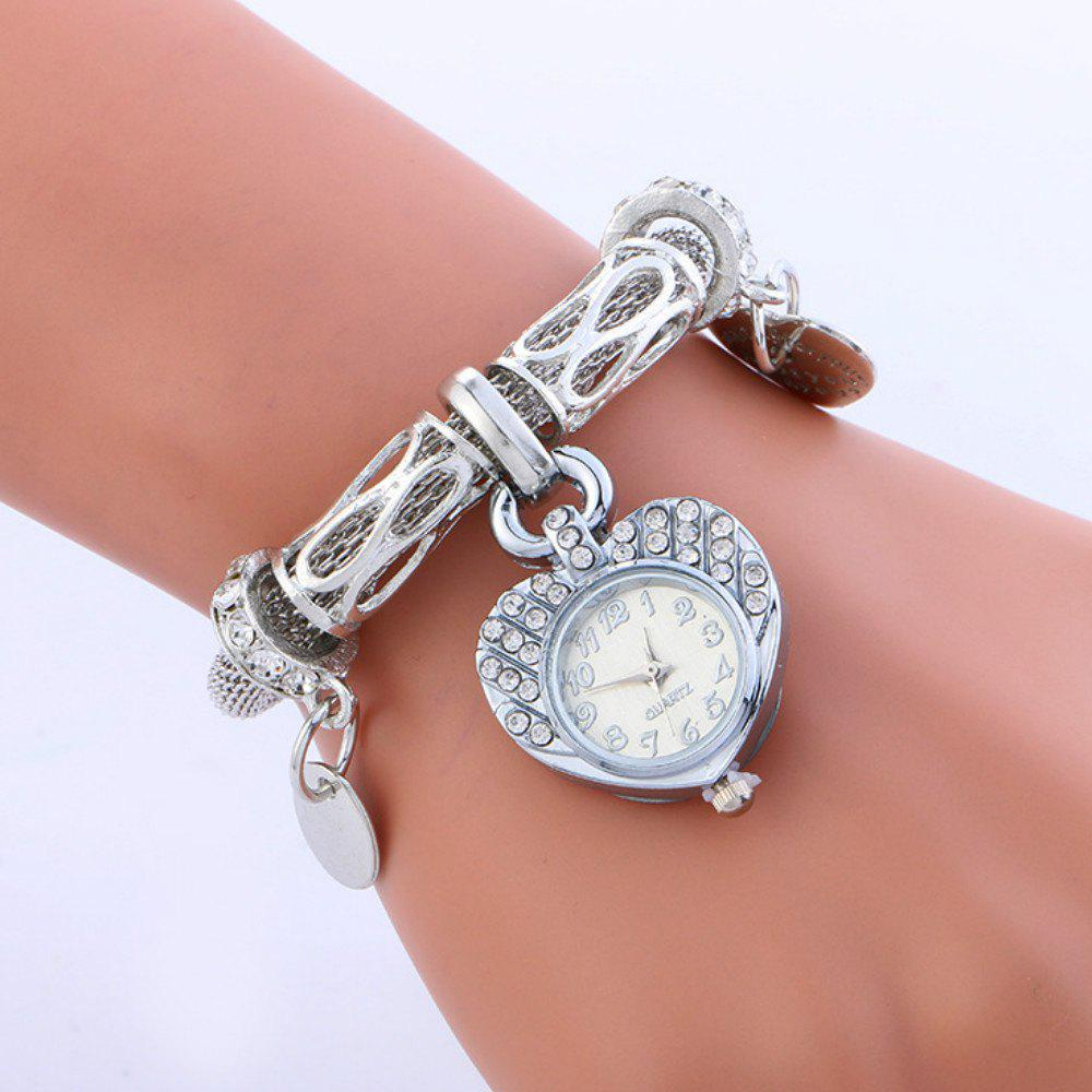 Reebonz New Fashion Ladies Love Heart Diamond Watch - SILVER