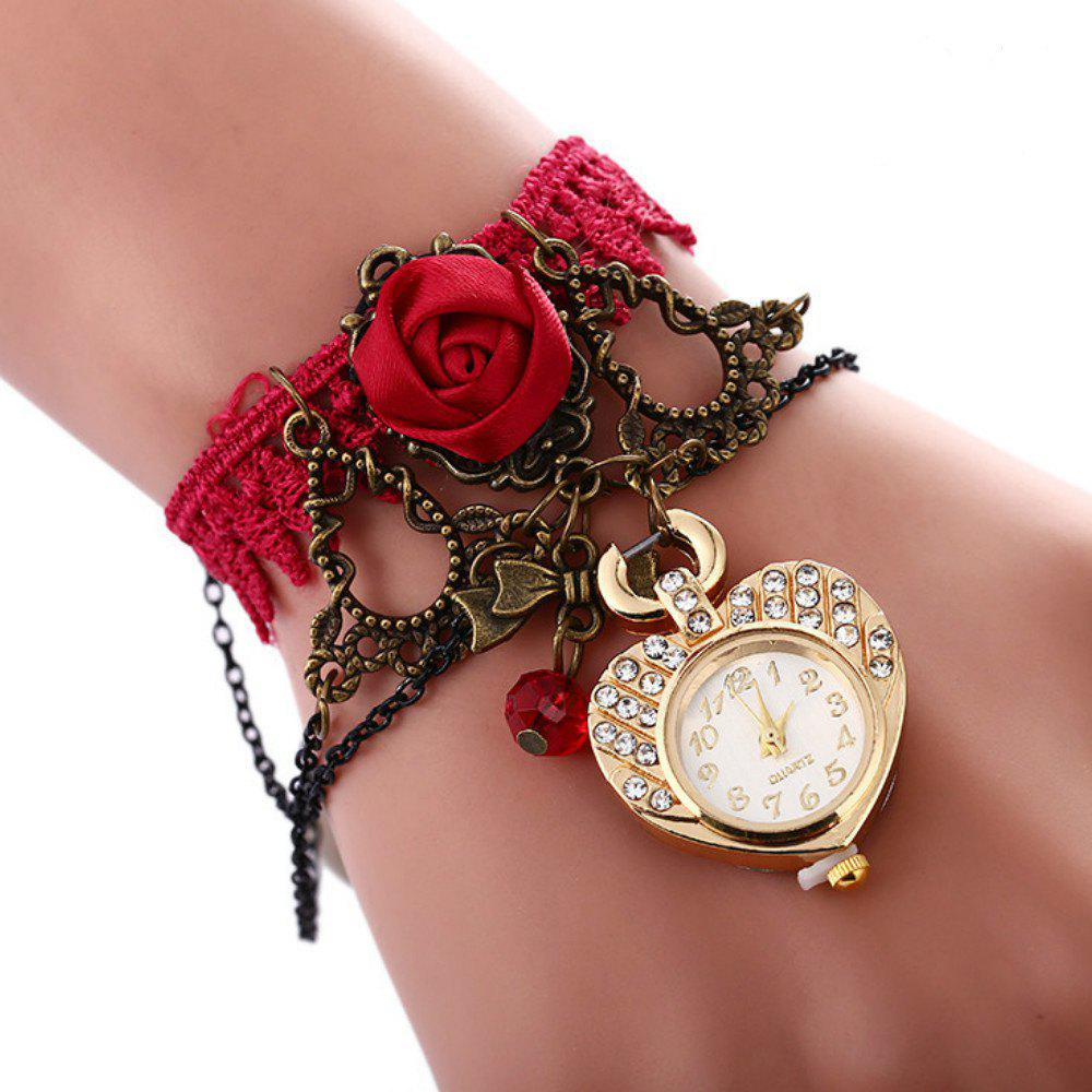 Reebonz New Bohemian Style Bracelet Watch - DARK RED