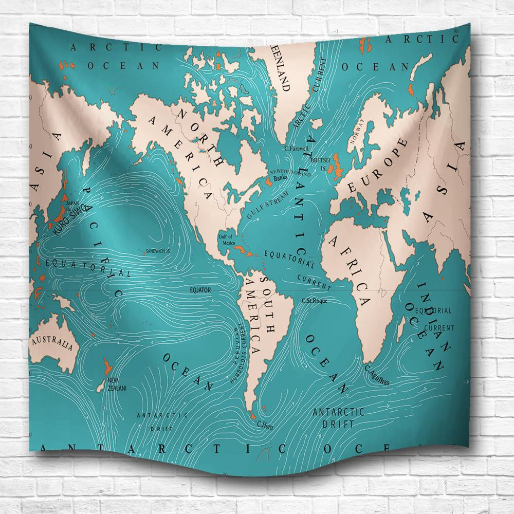 2018 world current map 3d digital printing home wall hanging nature world current map 3d digital printing home wall hanging nature art fabric tapestry for bedroom living gumiabroncs Images