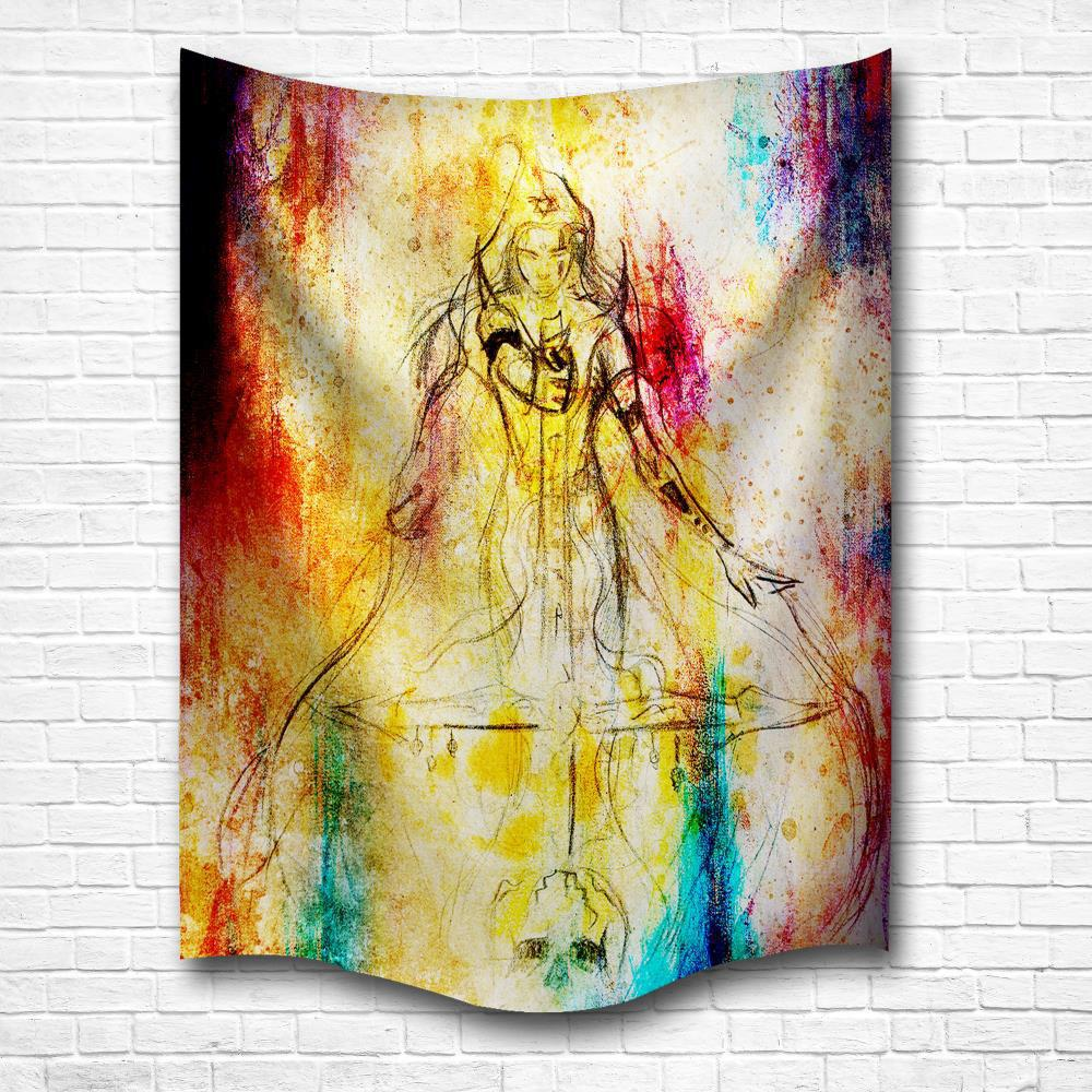 2018 Watercolor Woman Warrior 3D Digital Printing Home Wall Hanging ...