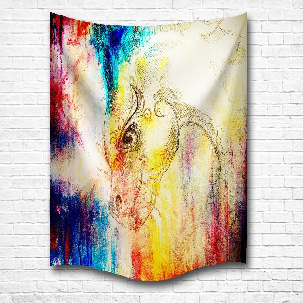 The Dragon 3D Digital Printing Home Wall Hanging Nature Art Fabric Tapestry for Bedroom Living Room Decorations - COLORMIX W203CMXL153CM