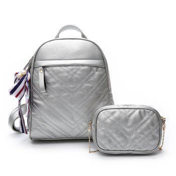 Lychee Leather Shoulder Bag Wild Scarf Ling Grid Backpack - SILVER SILVER