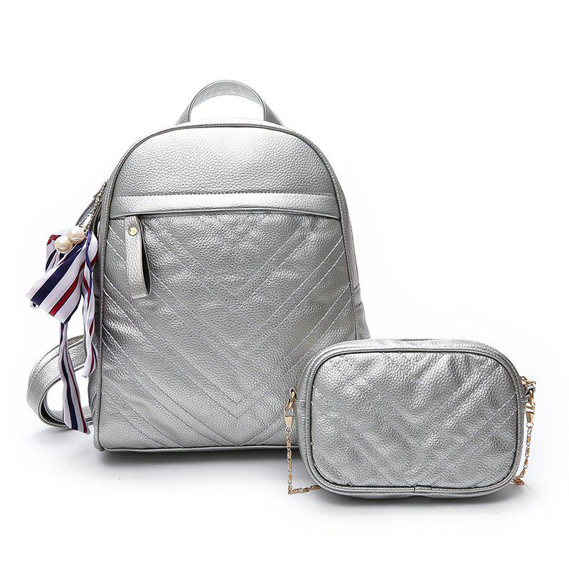Lychee Leather Shoulder Bag Wild Scarf Ling Grid Backpack - SILVER