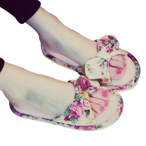 YJ001 Floral Bow Cute Women Home Soft Cotton Comfortable Slippers - PINK SIZE(36-37)