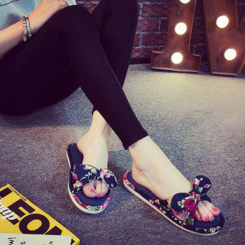 YJ001 Floral Bow Cute Women Home Soft Cotton Comfortable Slippers - CADETBLUE SIZE(38-39)