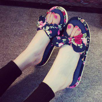 YJ001 Floral Bow Cute Women Home Soft Cotton Comfortable Slippers - CADETBLUE SIZE(40-41)