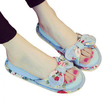 YJ001 Floral Bow Cute Women Home Soft Cotton Comfortable Slippers - LIGHT BLUE LIGHT BLUE