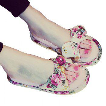 YJ001 Floral Bow Cute Women Home Soft Cotton Comfortable Slippers - PINK PINK