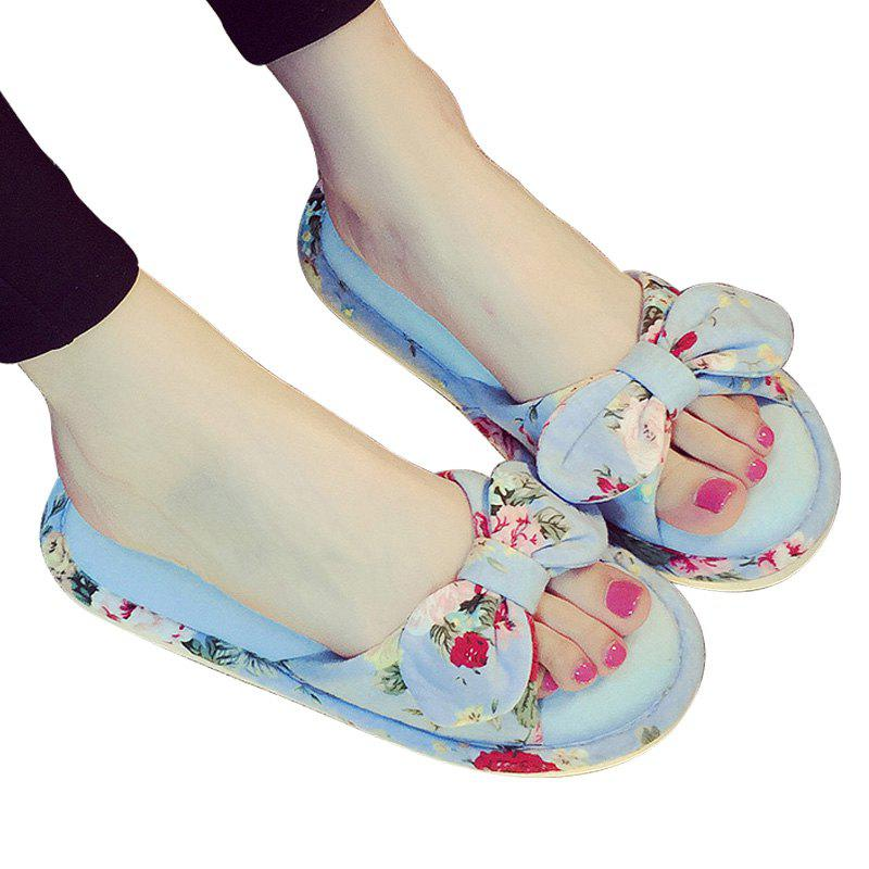 YJ001 Floral Bow Cute Women Home Soft Cotton Comfortable Slippers - LIGHT BLUE SIZE(36-37)