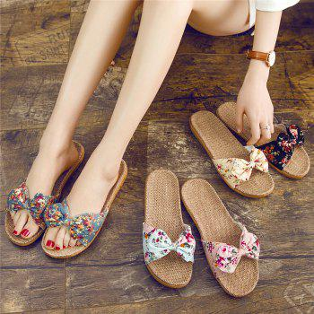 YJ002 Women' Linen Slippers Fashion Deisgn Floral Bowknot Slippers - BLACK SIZE(35-36)