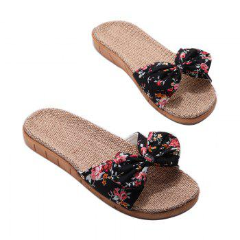 YJ002 Women' Linen Slippers Fashion Deisgn Floral Bowknot Slippers - BLACK BLACK