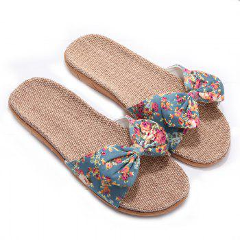 YJ002 Women' Linen Slippers Fashion Deisgn Floral Bowknot Slippers - GREEN GREEN