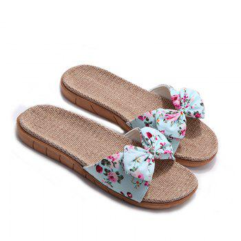 YJ002 Women' Linen Slippers Fashion Deisgn Floral Bowknot Slippers - BLUE BLUE