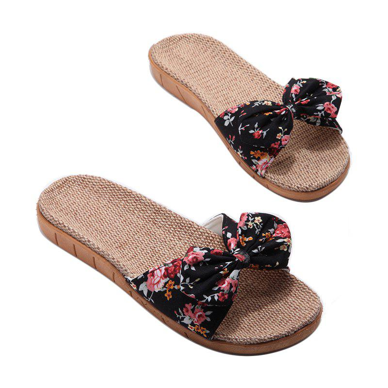 YJ002 Women' Linen Slippers Fashion Deisgn Floral Bowknot Slippers - BLACK SIZE(39-40)