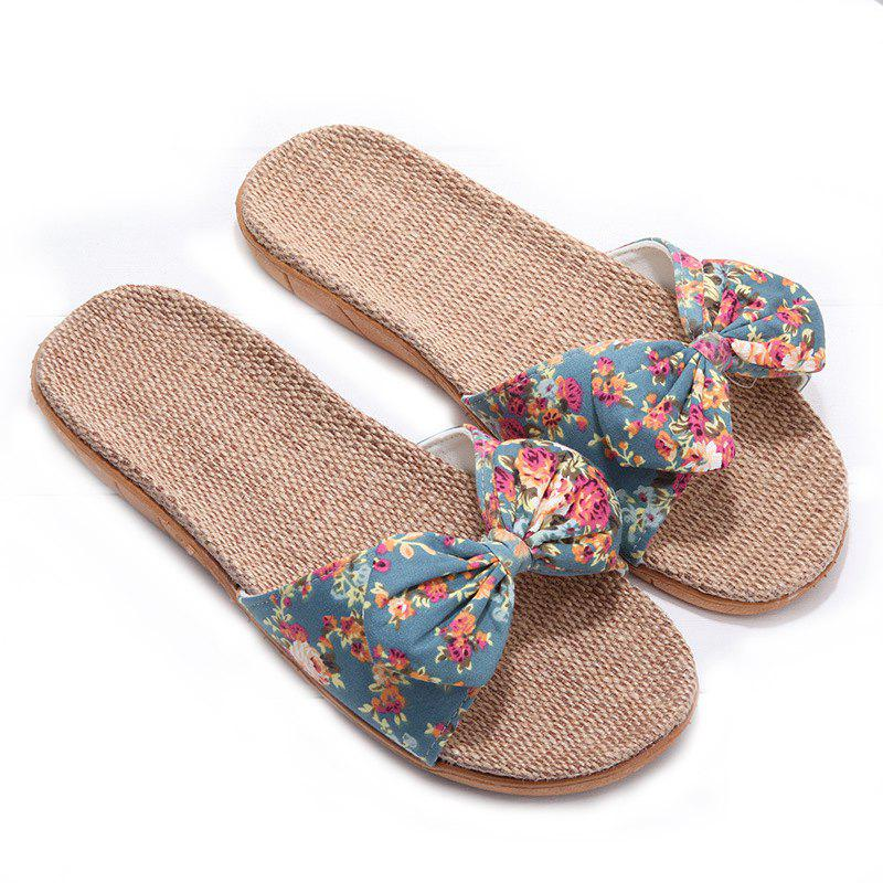 YJ002 Women' Linen Slippers Fashion Deisgn Floral Bowknot Slippers - GREEN SIZE(35-36)