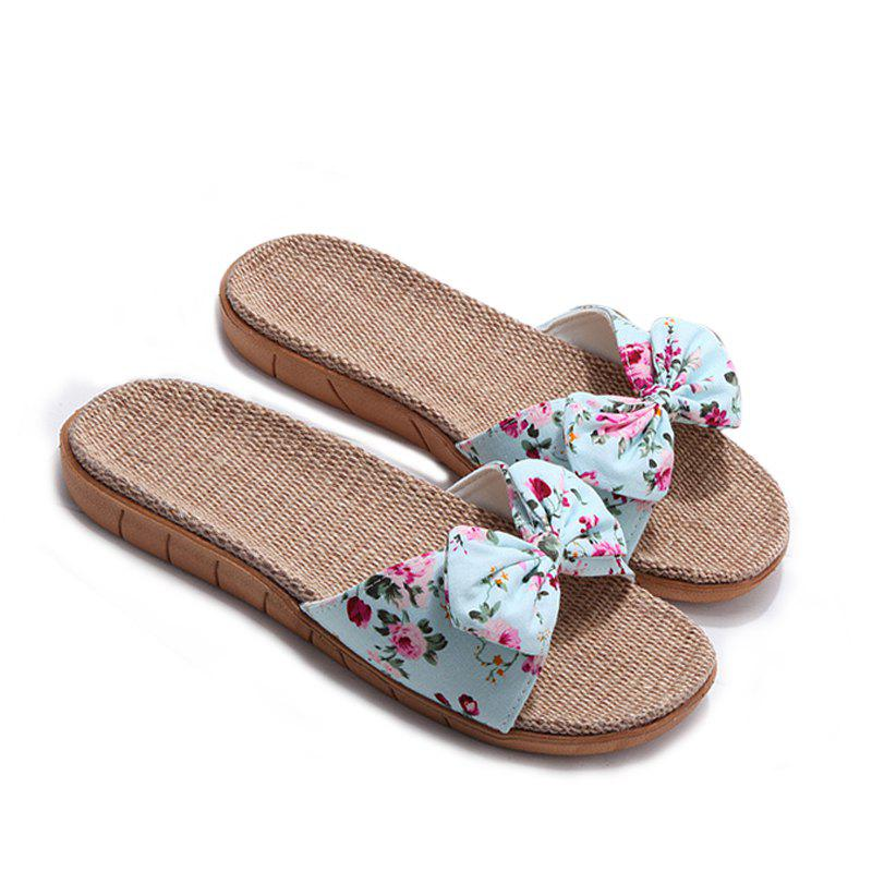 YJ002 Women' Linen Slippers Fashion Deisgn Floral Bowknot Slippers - BLUE SIZE(37-38)