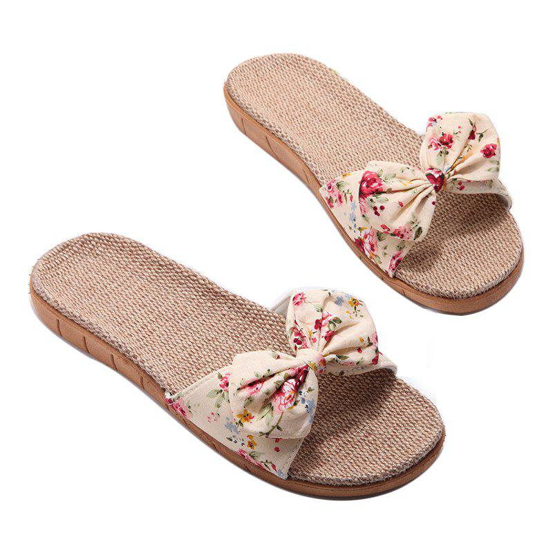 YJ002 Women' Linen Slippers Fashion Deisgn Floral Bowknot Slippers - YELLOW SIZE(39-40)