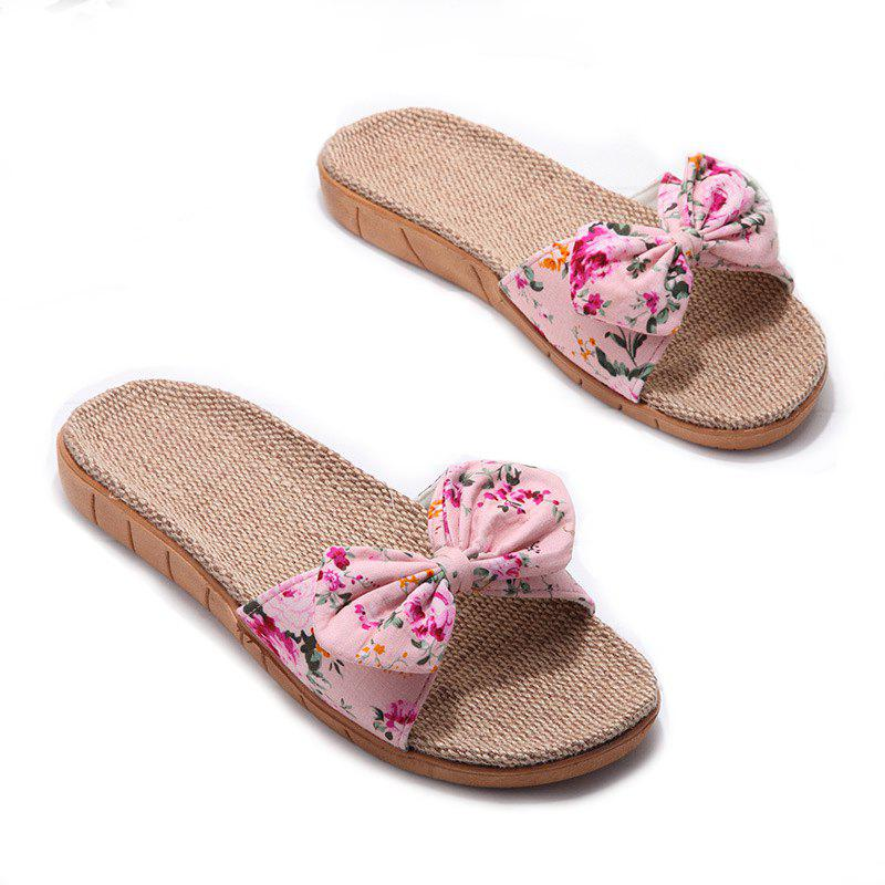 YJ002 Women' Linen Slippers Fashion Deisgn Floral Bowknot Slippers - PINK SIZE(37-38)
