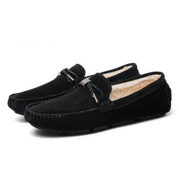 New Winter Casual Lightweight Solid Color Peas Shoes - BLACK BLACK
