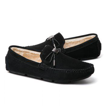 New Winter Casual Lightweight Solid Color Peas Shoes - BLACK 40