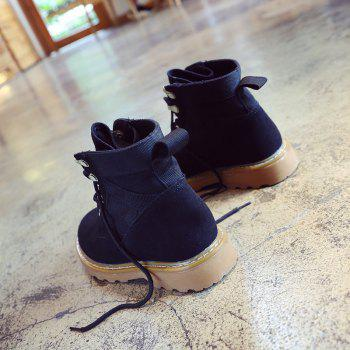 New Spring and Autumn High-Top Casual Cotton Boots - BLACK 37