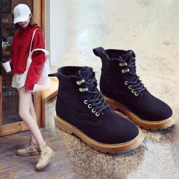 New Spring and Autumn High-Top Casual Cotton Boots - BLACK 35