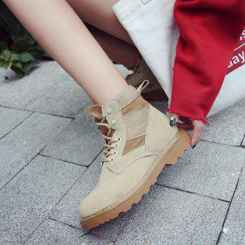 New Spring and Autumn High-Top Casual Cotton Boots - KHAKI 39