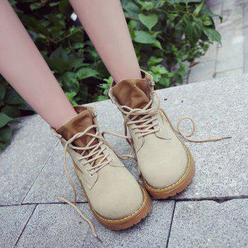 New Spring and Autumn High-Top Casual Cotton Boots - KHAKI 36