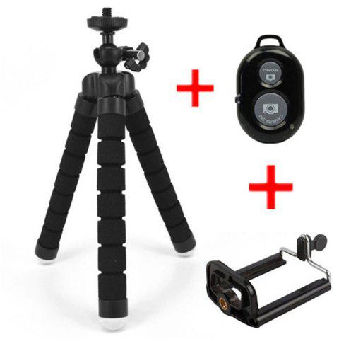 Flexible Octopus Tripod Bracket Selfie Stand Mount + Bluetooth Remote Shutter - BLACK