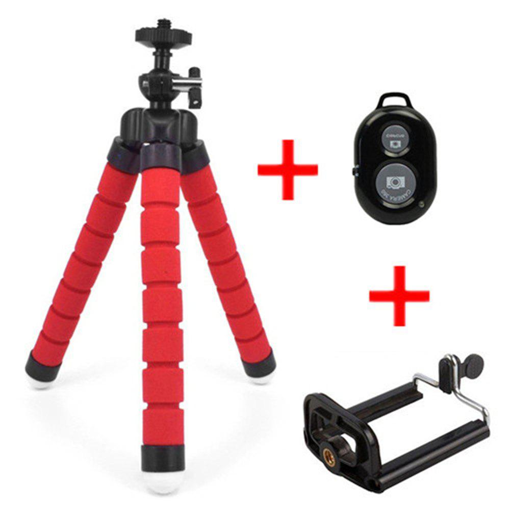 Flexible Octopus Tripod Bracket Selfie Stand Mount + Bluetooth Remote Shutter - RED