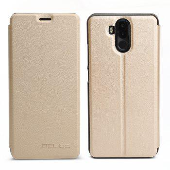 OCUBE Flip Folio Stand Up Holder PU Leather Case Cover for Ulefone Power 3 Cellphone - GOLDEN GOLDEN