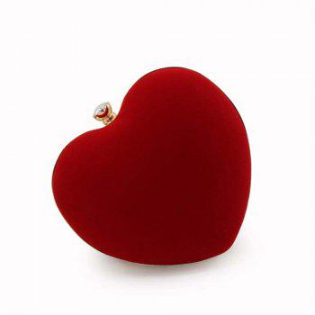 The Explosion Of High-grade Velvert Heart-shaped Evening Clutch Bag - RED RED